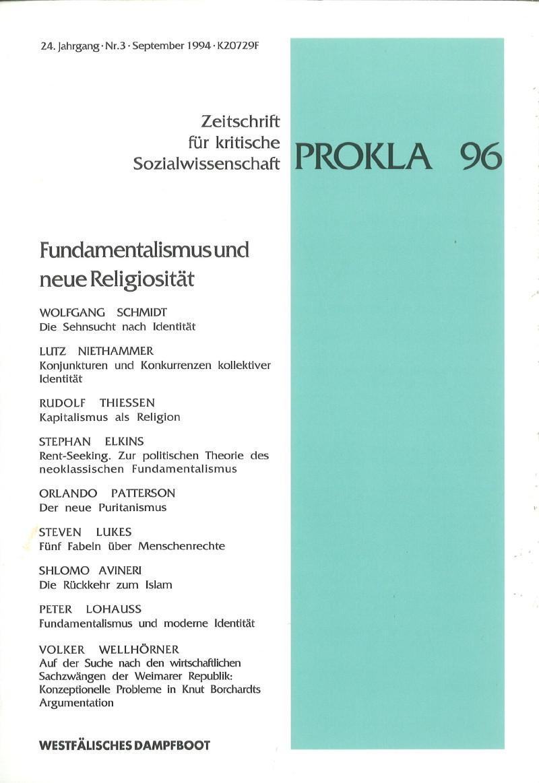 Ansehen Bd. 24 Nr. 96 (1994): Fundamentalismus und neue Religiosität