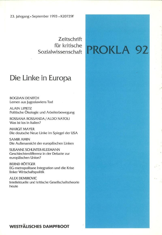 Ansehen Bd. 23 Nr. 92 (1993): Die Linke in Europa