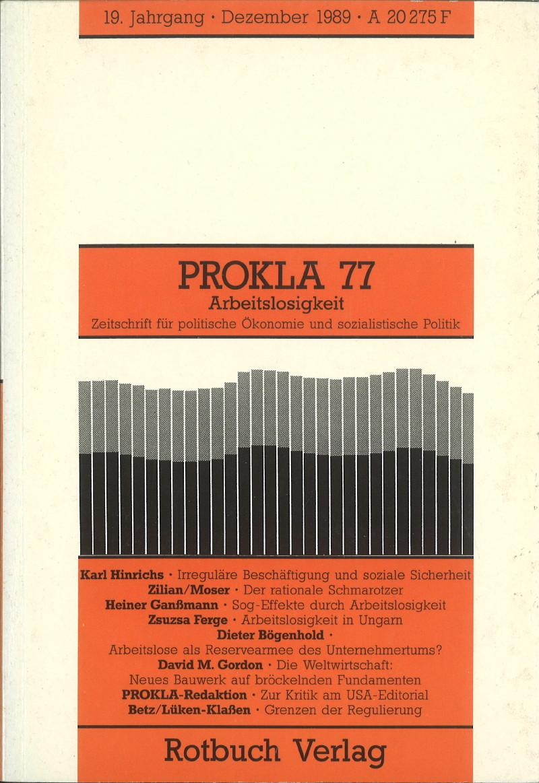 Ansehen Bd. 19 Nr. 77 (1989): Arbeitslosigkeit
