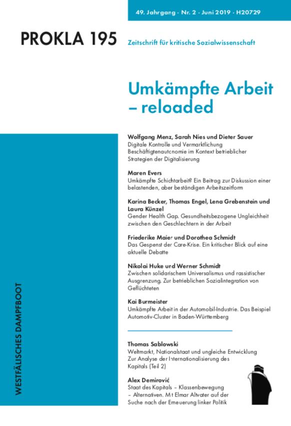 Ansehen Bd. 49 Nr. 195 (2019): Umkämpfte Arbeit – reloaded