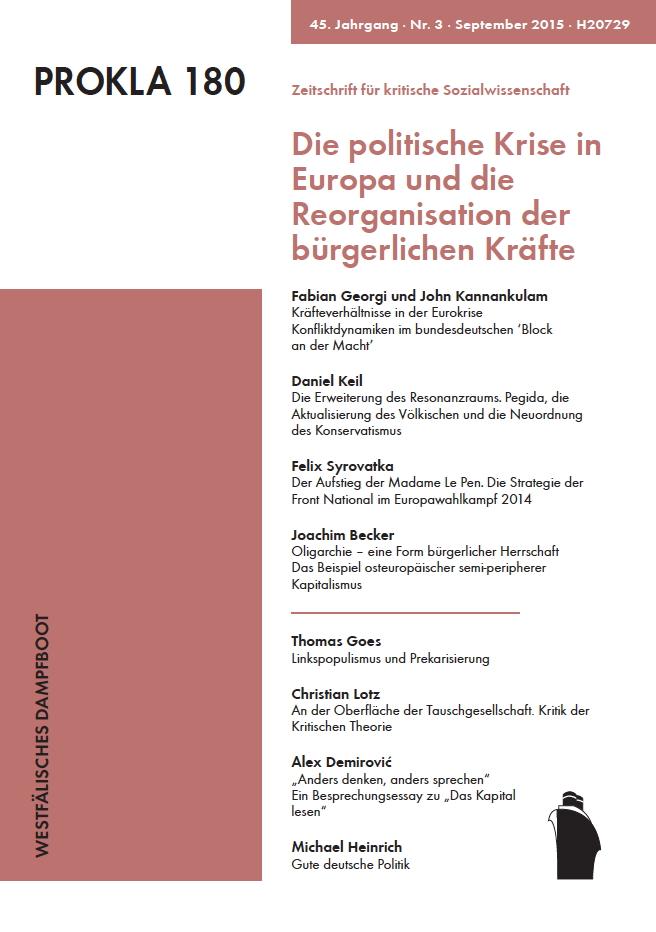 Ansehen Bd. 45 Nr. 180 (2015): Die politische Krise in Europa und die Reorganisation der bürgerlichen Kräfte