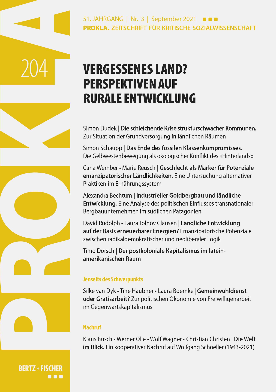 Ansehen Bd. 51 Nr. 204 (2021): Vergessenes Land? Perspektiven auf rurale Entwicklung