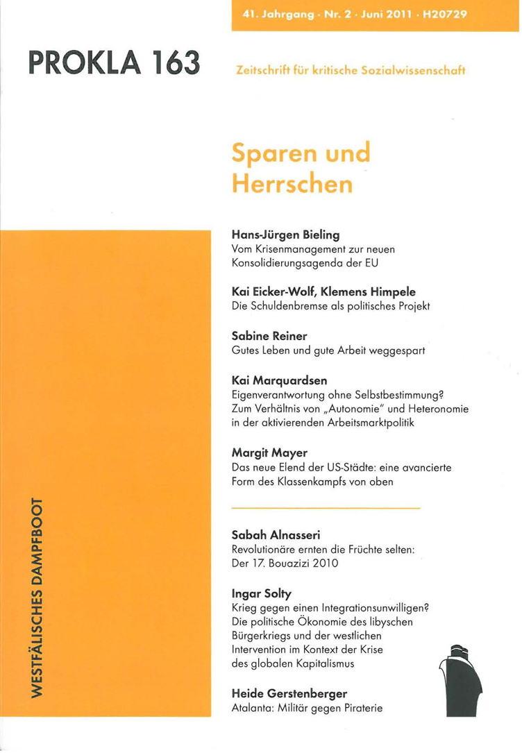 Ansehen Bd. 41 Nr. 163 (2011): Sparen und Herrschen