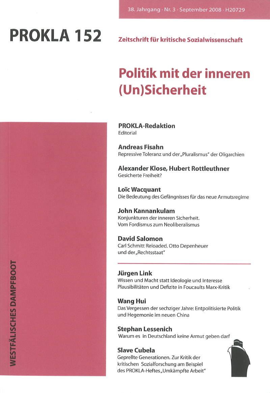 Ansehen Bd. 38 Nr. 152 (2008): Politik mit der inneren (Un)Sicherheit