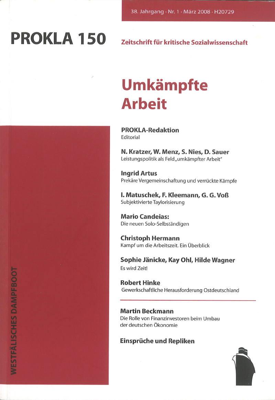 Ansehen Bd. 38 Nr. 150 (2008): Umkämpfte Arbeit