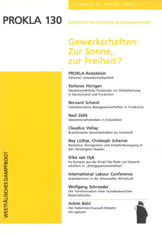 Ansehen Bd. 33 Nr. 130 (2003): Gewerkschaften: Zur Sonne, zur Freiheit?