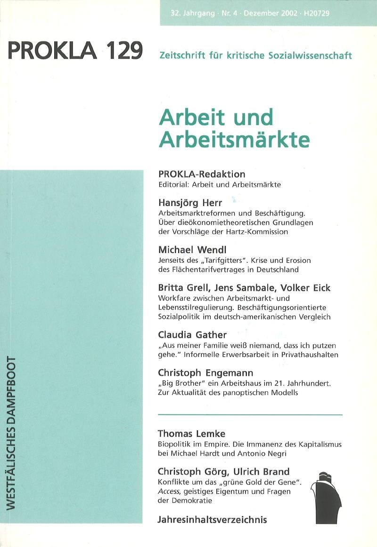 Ansehen Bd. 32 Nr. 129 (2002): Arbeit und Arbeitsmärkte