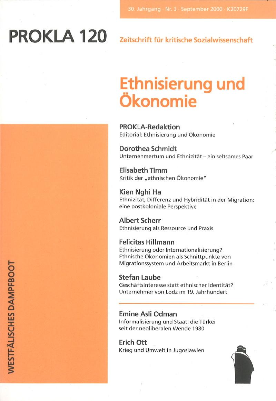 Ansehen Bd. 30 Nr. 120 (2000): Ethnisierung und Ökonomie