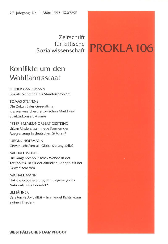Ansehen Bd. 27 Nr. 106 (1997): Konflikte um den Wohlfahrtsstaat