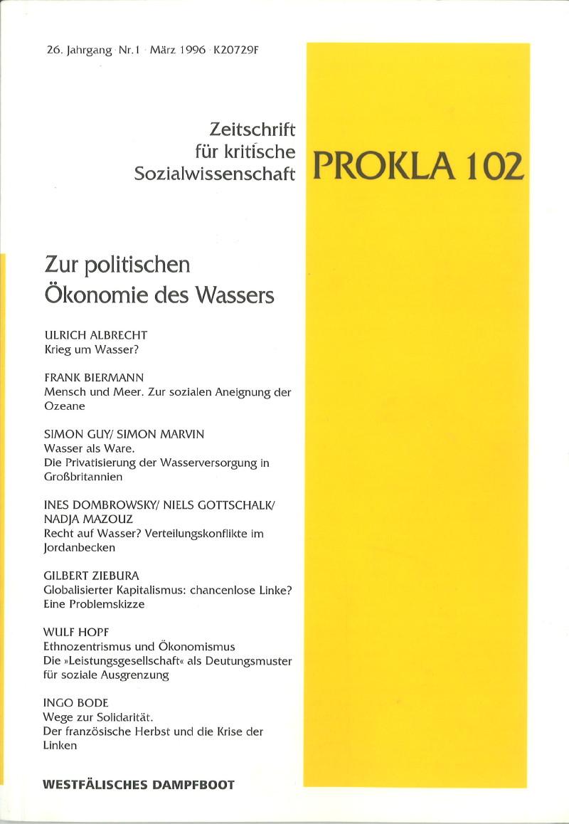 Ansehen Bd. 26 Nr. 102 (1996): Zur politischen Ökonomie des Wassers